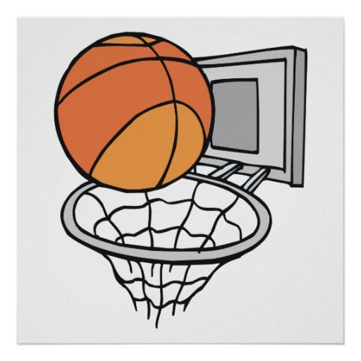 basketball and net vector graphic poster