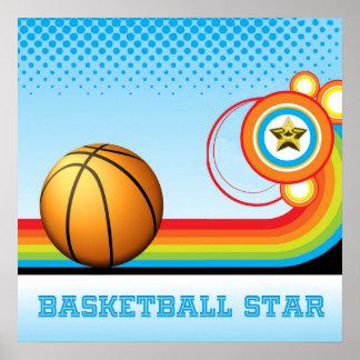 Basketball and Rainbow Stripe  BASKETBALL Star Poster
