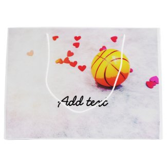 Basketball and red hearts with love on court large gift bag