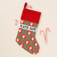 Basketball and Santa Pattern Custom Player Name Christmas Stocking
