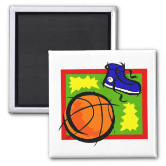 basketball and shoe 2 inch square magnet