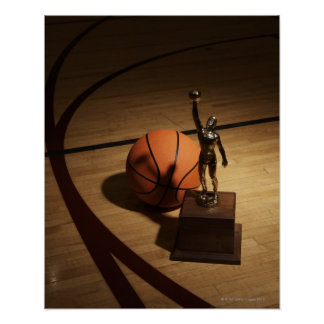 Basketball and trophy on basketball court, poster