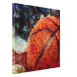 Basketball and USA Flag Stretched Canvas Prints