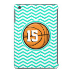 Basketball; Aqua Green Chevron iPad Mini Retina Case