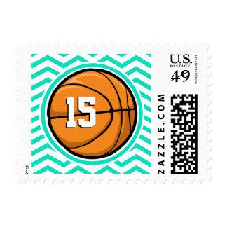 Basketball; Aqua Green Chevron Stamp