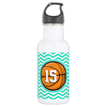 Basketball; Aqua Green Chevron Stainless Steel Water Bottle