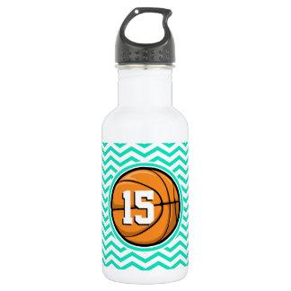 Basketball; Aqua Green Chevron Stainless Steel Water Bottle