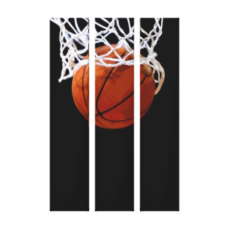 Basketball Artwork Wrapped Canvas - 3 Canvases Set Canvas Print
