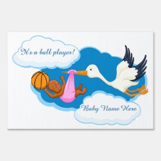 Basketball Baby Black Girl With Stork Sign
