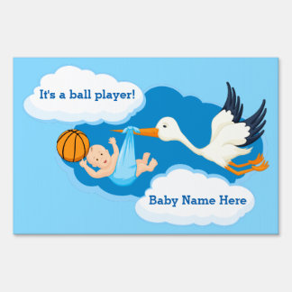 Basketball Baby Boy With Stork Lawn Sign