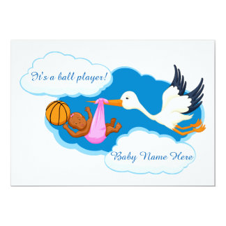 Basketball Baby Girl With Stork Card