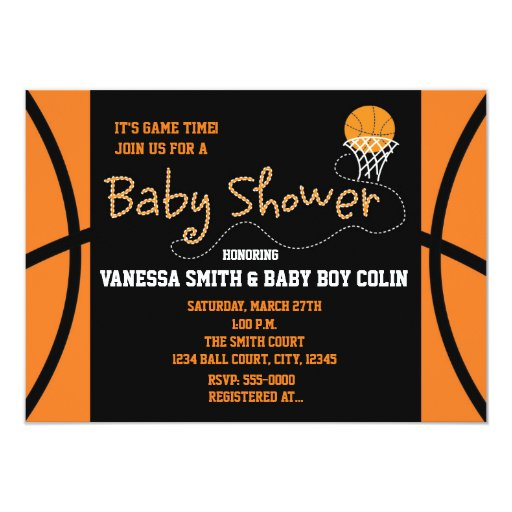 basketball baby shower typography party invitation zazzle