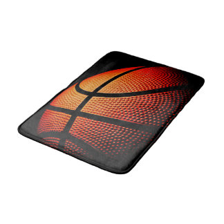 Basketball Ball Close Up Skin Texture Pattern Bath Mats