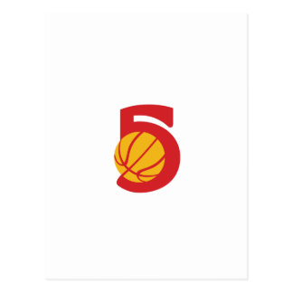 Basketball Ball Five Retro Postcard