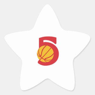 Basketball Ball Five Retro Star Sticker