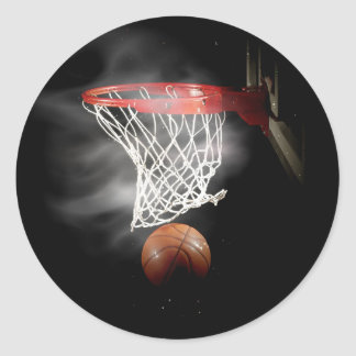 Basketball Ball & Net Classic Round Sticker