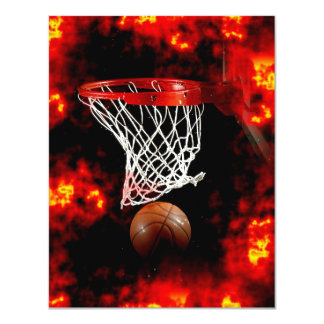 "Basketball Ball, Net & Flames Invitations 4.25"" X 5.5"" Invitation Card"