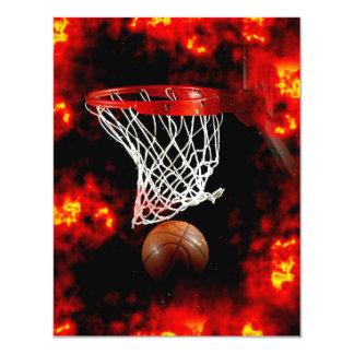 Basketball Ball, Net & Flames Invitations