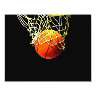 "Basketball Ball & Net Invitations 4.25"" X 5.5"" Invitation Card"