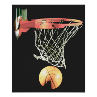 Basketball Ball & Net Poster