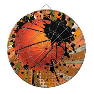 Basketball Ball on Rays Background Dartboard With Darts