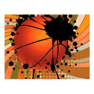 Basketball Ball on Rays Background Postcard