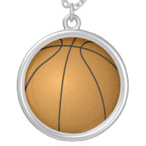 basketball ball silver plated necklace