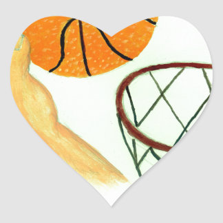 Basketball Ball Sketch Heart Sticker
