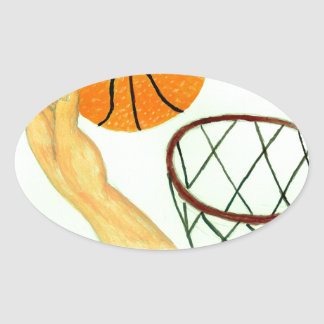 Basketball Ball Sketch Oval Sticker