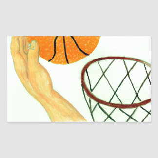 Basketball Ball Sketch Rectangular Sticker