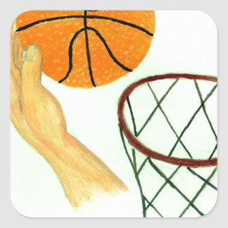 Basketball Ball Sketch Square Sticker