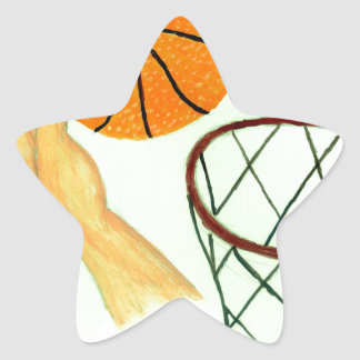 Basketball Ball Sketch Star Sticker