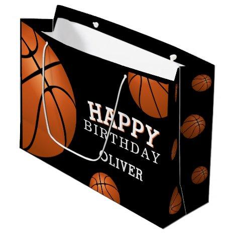 Basketball Ball Sports Happy Birthday Name Large Gift Bag
