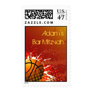 Basketball Bar Mitzvah Postage Stamp