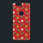 """Basketball, Baseball and Football Love Wood Nexus 6P Case<br><div class=""""desc"""">This design is for the sports enthusiast.</div>"""