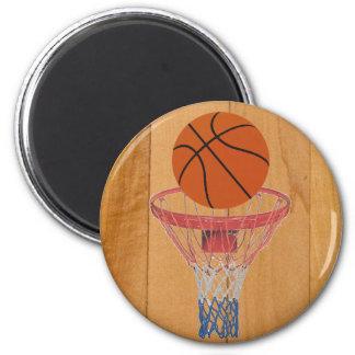 Basketball & Basket 2 Inch Round Magnet