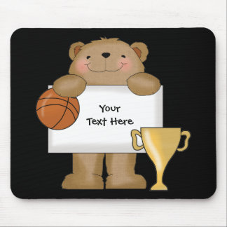 Basketball Bear Bulletin (customizable) Mouse Pad