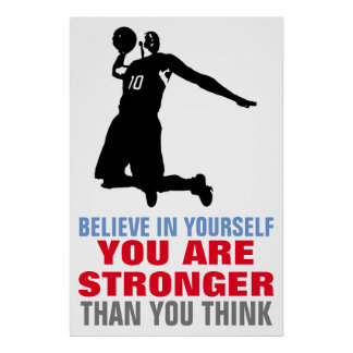 Basketball Believe in Yourself Motivational Art Poster