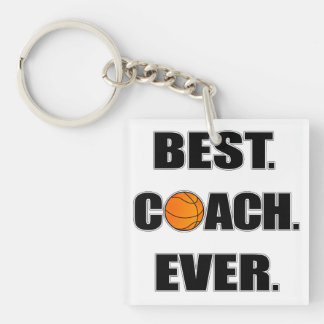 Basketball Best Coach Ever Double-Sided Square Acrylic Keychain