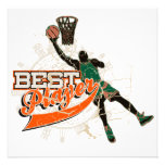 Basketball Best Player Green and Orange Custom Invitation