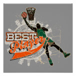Basketball Best Player Green and Orange Poster