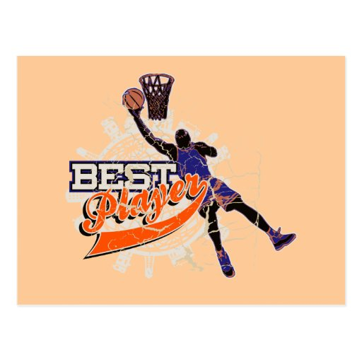 Basketball Best Player Orange and Blue T-shirts Postcard