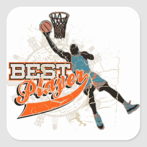 Basketball Best Player Teal and Orange Square Sticker