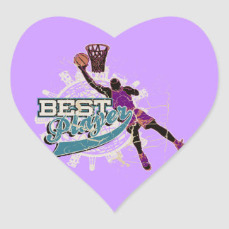 Basketball Best Player Teal and Purple Heart Sticker