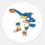 Basketball-Bird Round Stickers
