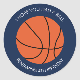 Basketball Birthday Classic Round Sticker