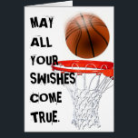 """Basketball Birthday Greeting Card<br><div class=""""desc"""">Funny basketball birthday swishes for players,  coaches,  and sports fans.</div>"""