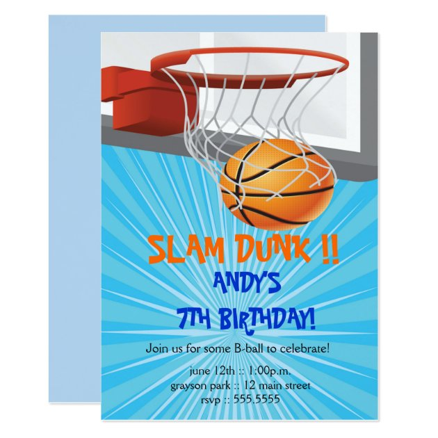 basketball birthday party invitations  zazzle, party invitations