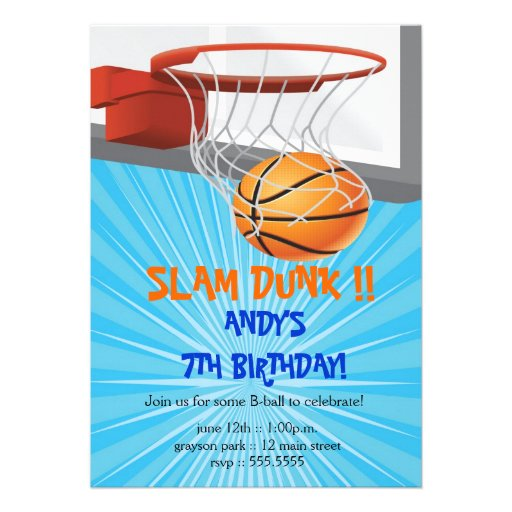 Personalized Basketball birthday party Invitations