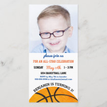 Basketball Birthday Party Sports Photo Invitation